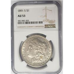 1891-S $1 Morgan Silver Dollar NGC AU53