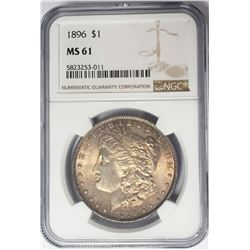 1896-P $1 Morgan Silver Dollar NGC MS61