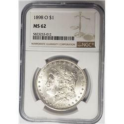 1898-O $1 Morgan Silver Dollar NGC MS62