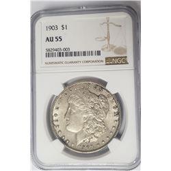 1903-P Morgan Silver Dollar $1 NGC AU55