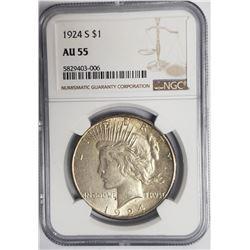 1924-S Peace Dollar $1 NGC AU55