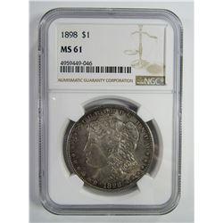 1898-P Morgan Silver Dollar $ NGC MS 61 Nicely Ton