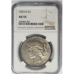 1923-D $1 Peace Silver Dollar NGC AU55