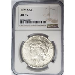 1925-S $1 Peace Silver Dollar NGC AU55