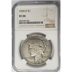 1934-D $1 Peace Silver Dollar NGC VF20