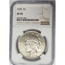 1935-P $1 Peace Silver Dollar NGC XF45