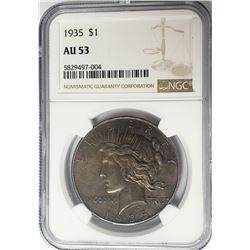 1935-P $1 Peace Silver Dollar NGC AU53