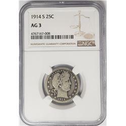 1914-S Barber Quarter 25C NGC AG3