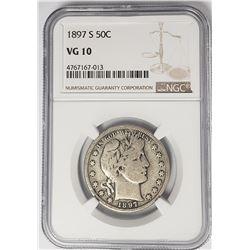 1897-S Barber Half Dollar 50C NGC Better Date VG10