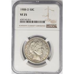1908-O Barber Half Dollar 50C NGC VF25