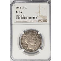 1915-S Barber Half Dollar 50C NGC XF45