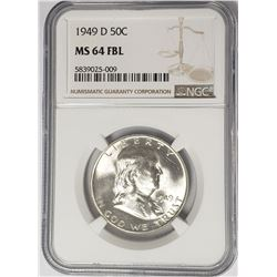 1949-D Franklin Half Dollar 50C NGC MS64 FBL
