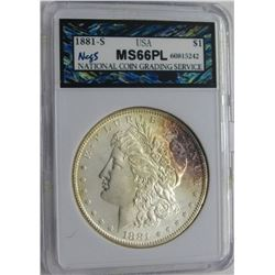 1881-S MORGAN SILVER DOLLAR NCGS MS 66 PL