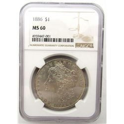 1886-P Morgan Silver Dollar $ NGC MS 60