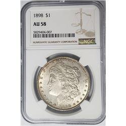 1898-P Morgan Silver Dollar $1 NGC AU58