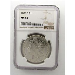 1878-S Morgan Silver Dollar $ NGC MS 63