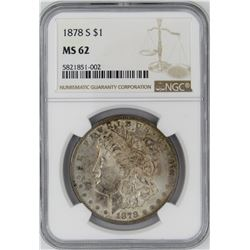 1878-S NGC MS62 MORGAN SILVER DOLLAR