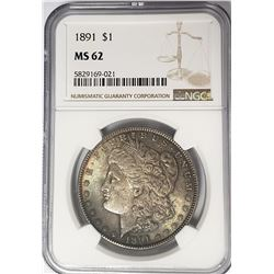 1891-P Morgan Silver Dollar $1 NGC MS62