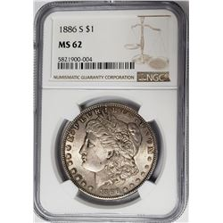1886-S Morgan Silver Dollar $1 NGC MS62