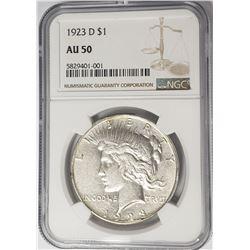 1923-D Peace Dollar $1 NGC AU50