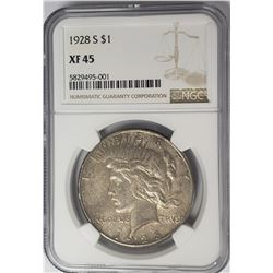 1928-S Peace Dollar $1 NGC XF45