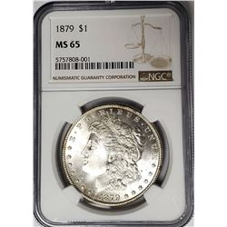1879-P Morgan Silver Dollar $1 NGC MS65