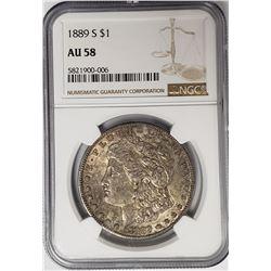 1889-S Morgan Silver Dollar $1 NGC AU58