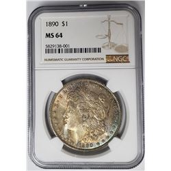 1890-P Morgan Silver Dollar $1 NGC MS64
