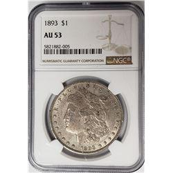 1893-P Morgan Silver Dollar $1 NGC AU53
