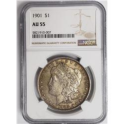 1901-P Morgan Silver Dollar $1 NGC AU55