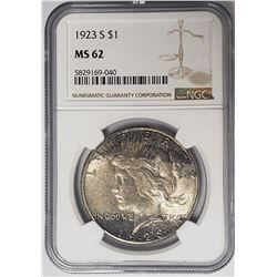 1923-S Peace Dollar $1 NGC MS62