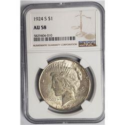 1924-S Peace Dollar $1 NGC AU58