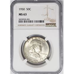 1950 50C Franklin Half Dollar NGC MS63