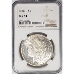 1880-S Morgan Silver Dollar $ NGC MS 63 Lightly To