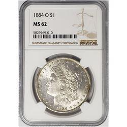 1884-O Morgan Silver Dollar $1 NGC MS62