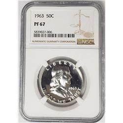 1963 50C Franklin Half Dollar NGC PF67