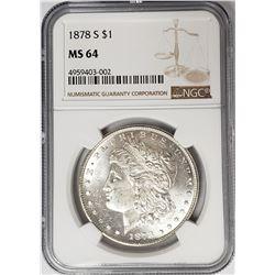 1878-S Morgan Silver Dollar $ NGC MS 64 Blast Whit