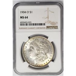 1904-O Morgan Silver Dollar $ NGC MS 64 Nicely Ton