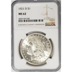 1921-D Morgan Silver Dollar $1 NGC MS62