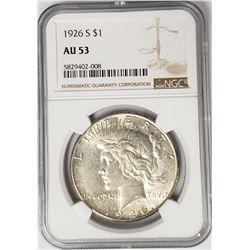 1926-S Peace Dollar $1 NGC AU53