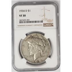 1934-D Peace Dollar $1 NGC VF30
