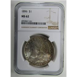 1896-P Morgan Silver Dollar $ NGC MS 62 Nicely Ton