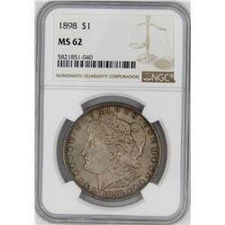 1898 NGC MS62 MORGAN SILVER DOLLAR