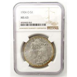 1904-O Morgan Silver Dollar $ NGC MS 63 Lightly To