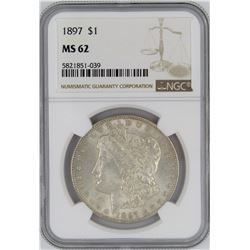 1897 NGC MS62 MORGAN SILVER DOLLAR