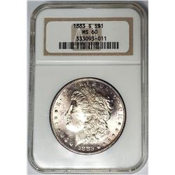 1883-S Morgan Silver Dollar $1 NGC MS60