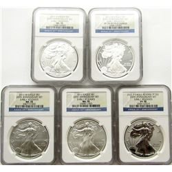 2011 5 COIN .999 SILVER EAGLE SET 25TH ANNIVERSARY
