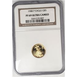 1988 P $5 GOLD EAGLE NGC PF69 ULTRA CAMEO