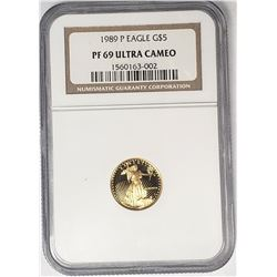 1989 P $5 GOLD EAGLE NGC PF69 ULTRA CAMEO