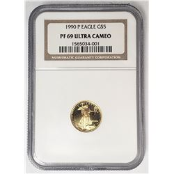 1990 P $5 GOLD EAGLE NGC PF69 ULTRA CAMEO